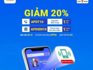 Giảm ngay 20% khi nạp thẻ điện thoại trên Shopee thanh toán với Airpay