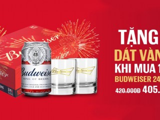 Mã giảm giá VuaBia 15k khi mua thùng Budweiser 12 lon 500ml giá chỉ 305k/thùng