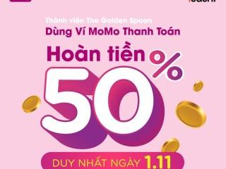 Hoàn tiền 50% tổng hoá đơn thanh toán qua ví Momo