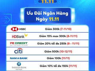 [TIKI] Ưu đãi thẻ ngân hàng cho ngày 11/11
