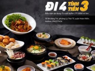 King BBQ Việt Nam đi 4 tính tiền 3, tặng free 1 suất buffet 349K
