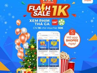 E-voucher giảm 30K giá chỉ 1K trên Shopee khi mua vé xem phim CGV/BHD