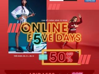[Yes24] Adidas Online Five days - ưu đãi 50% toàn bộ sản phẩm