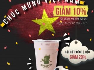 Mừng Việt Nam chiến thắng - Bobapop giảm đến 20% cho trà sữa bất kì