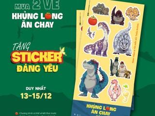"""[Lottecinema] Tặng bộ Sticker khi mua 2 vé """"Khủng long ăn chay"""""""