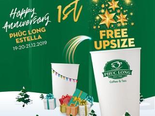 Phúc Long Free Upsize tháng 12 mừng sinh nhật chuỗi cửa hàng