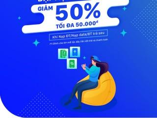 [ZaloPay] Giảm ngay 50% khi thanh toán Nạp điện thoại/Nạp data 3G&4G/Nạp ĐT trả sau