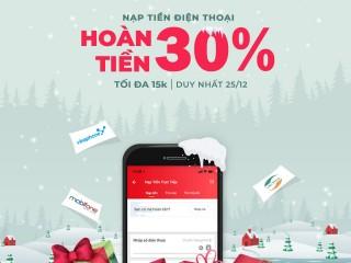 [Sendo] Hoàn tiền 30% khi nạp thẻ điện thoại ngày 25.12