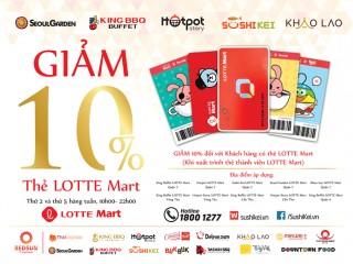 [Lotte Mart] Giảm 10% tại các nhà hàng của Redsun khi có thẻ thành viên Lotte Mart