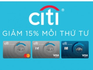 Ưu đãi giảm 15% khi thanh toán cho chủ thẻ Citibank