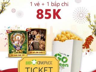 [BHD Star Cineplex] Combo 01 vé xem phim 2D + 01 bắp 32Oz giá 74K khi tải app VinID