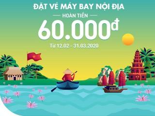 Đặt vé máy bay nội địa - Hoàn tiền 60.000đ trên ZaloPay Hangout
