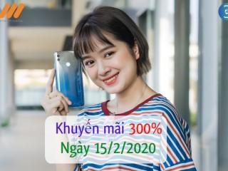 KHUYẾN MÃI VIETNAMOBILE 300% THẺ NẠP NGÀY 15/2/2020