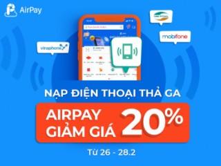 Mã khuyến mãi 20% khi nạp tiền điện thoại trực tiếp từ dịch vụ Shopee APDT02